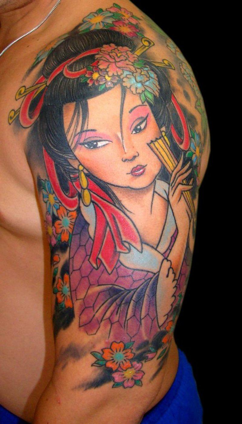 Half sleeve japanese girl tattoo design