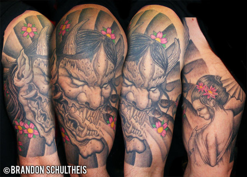 half sleeve japanese hannya mask tattoo design tattoos book tattoos designs. Black Bedroom Furniture Sets. Home Design Ideas