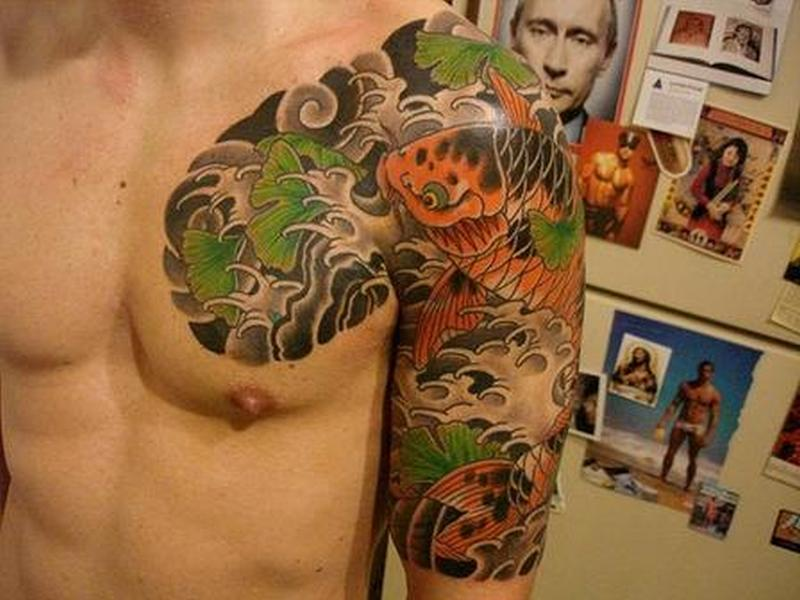 Half sleeve japanese koi fish for men tattoo