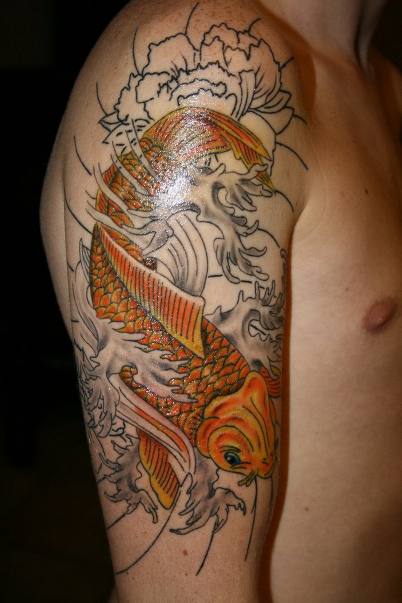 Half sleeve japanese koi fish tattoo for men 3