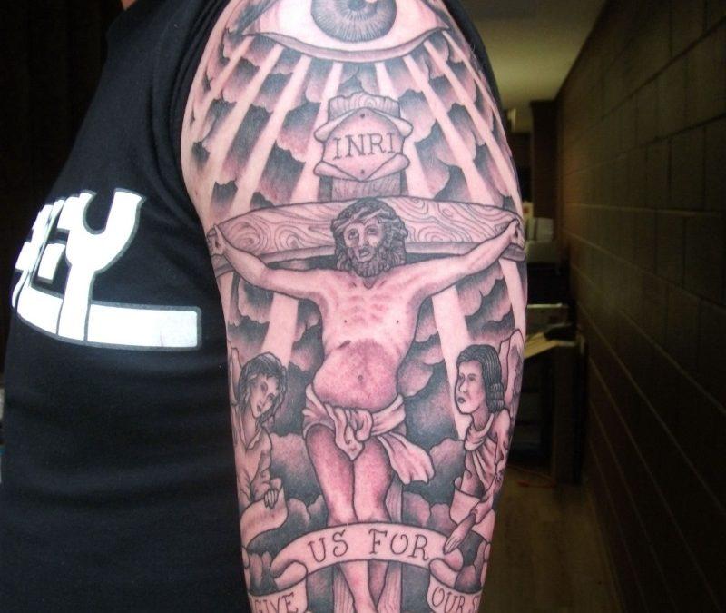 Half sleeve jesus cross tattoo design