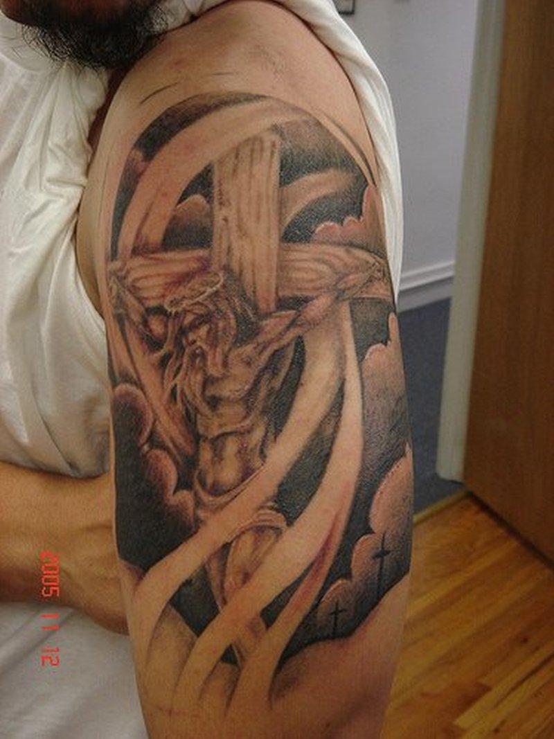Half sleeve jesus on cross tattoo design