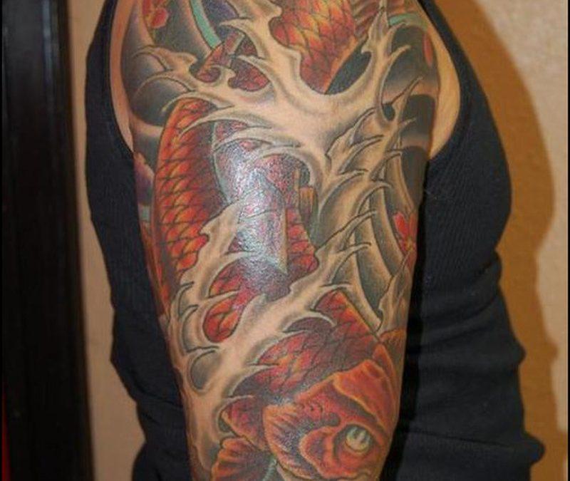 Half sleeve koi fish japanese tattoo design