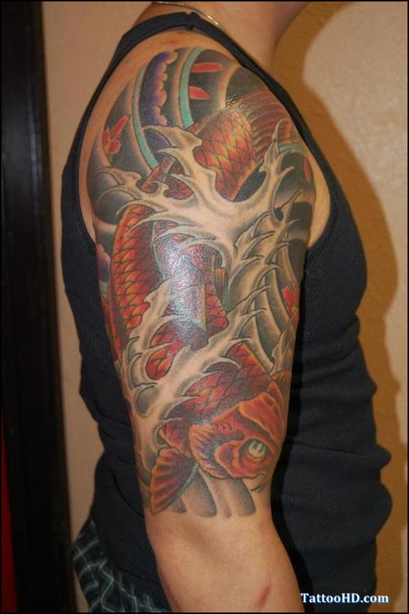Japanese half sleeve tattoo designs - Half Sleeve Koi Fish Japanese Tattoo Design
