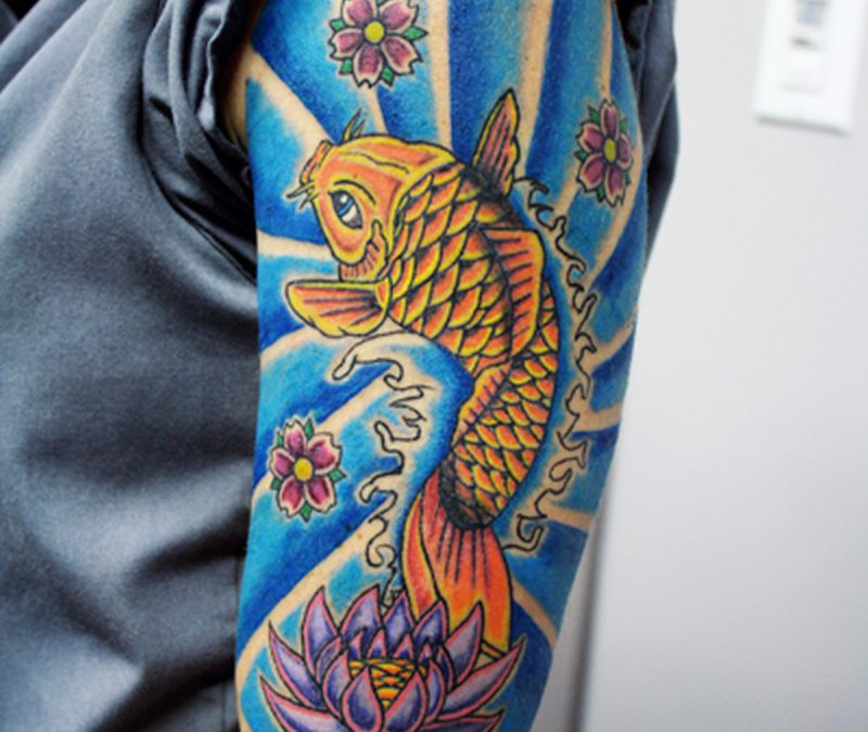 Half sleeve koi fish n lotus tattoo design