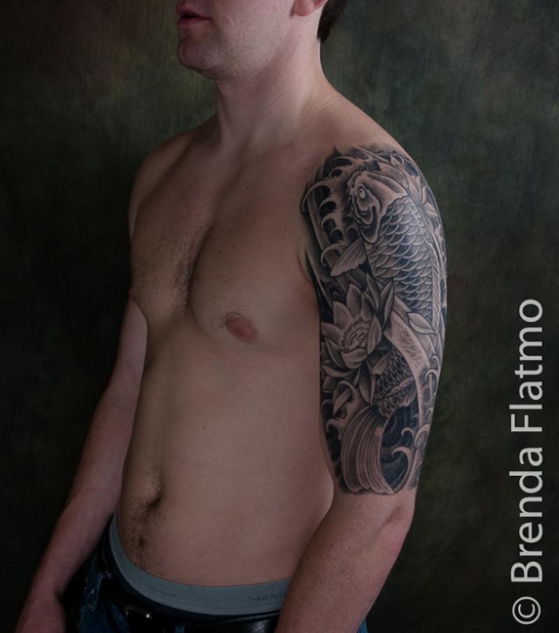 Half sleeve koi fish tattoo design for guys 2