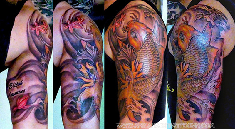 Half sleeve koi fish tattoo design for men 2