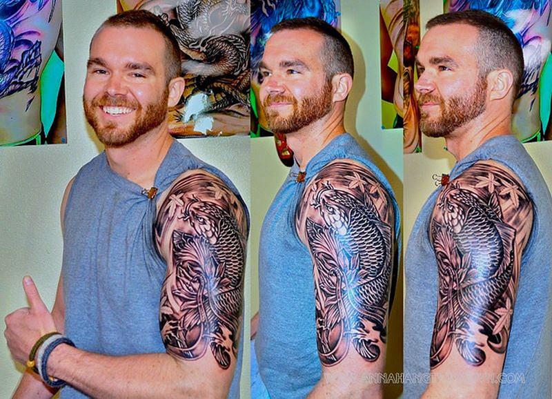 4cdff1af60105 Half sleeve koi fish tattoo design for men - Tattoos Book - 65.000 ...