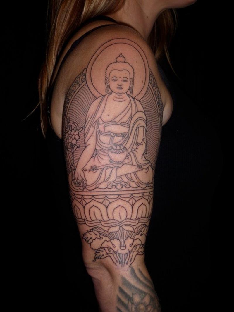 Half sleeve medicine buddha tattoo design - Tattoos Book ...