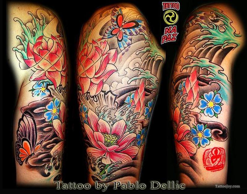 Half sleeve oriental japanese tattoo design