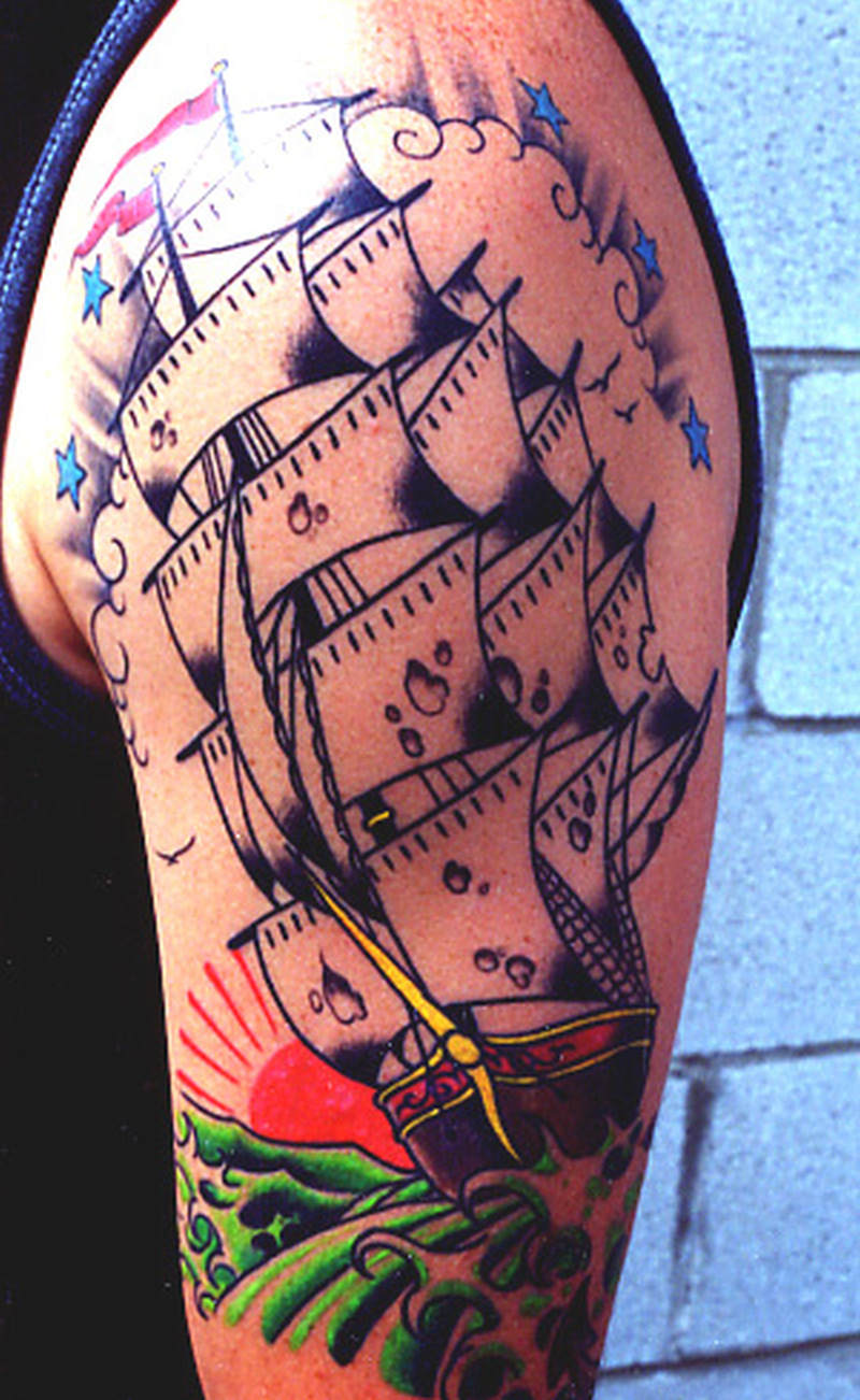 Half sleeve pirate ship tattoo design