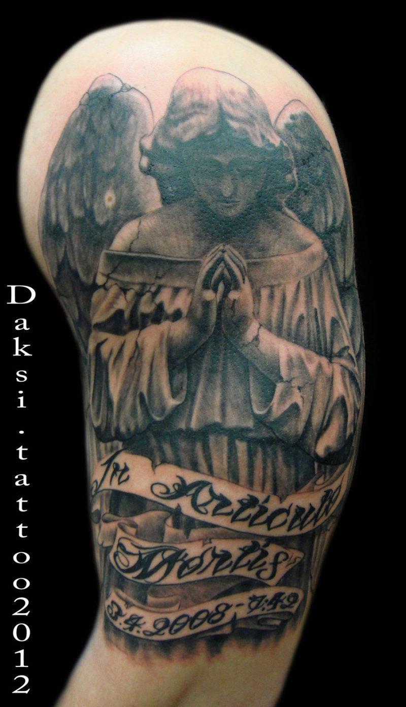 Half sleeve praying angel tattoo design
