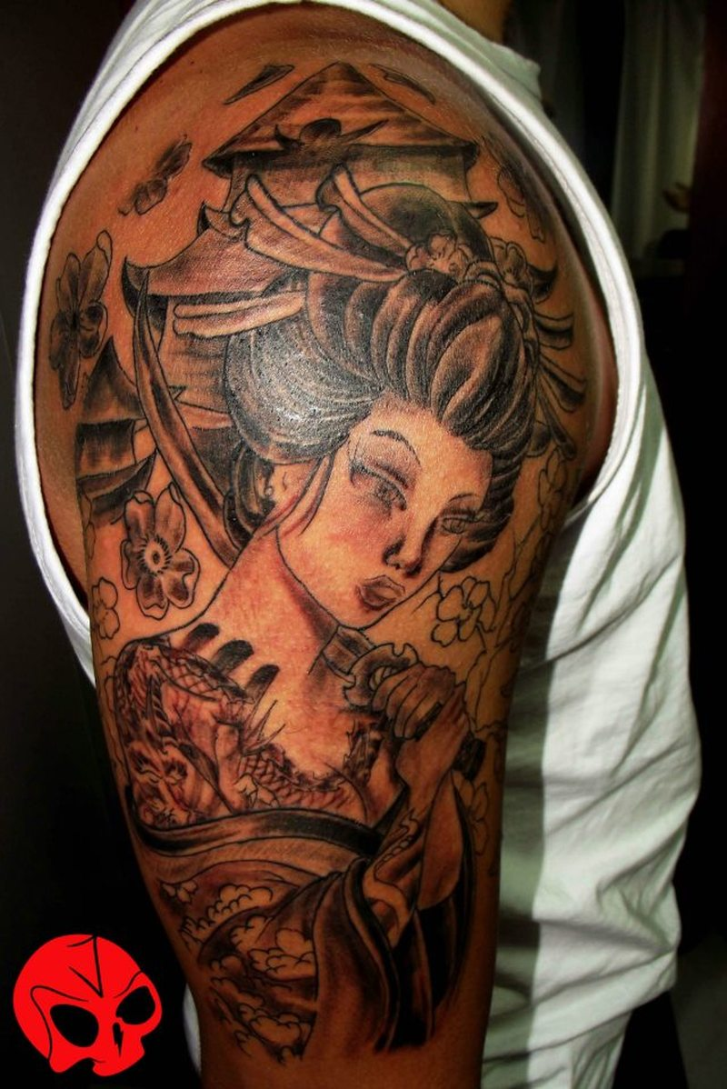 85a147e76 Half sleeve samurai geisha tattoo for men - Tattoos Book - 65.000 ...