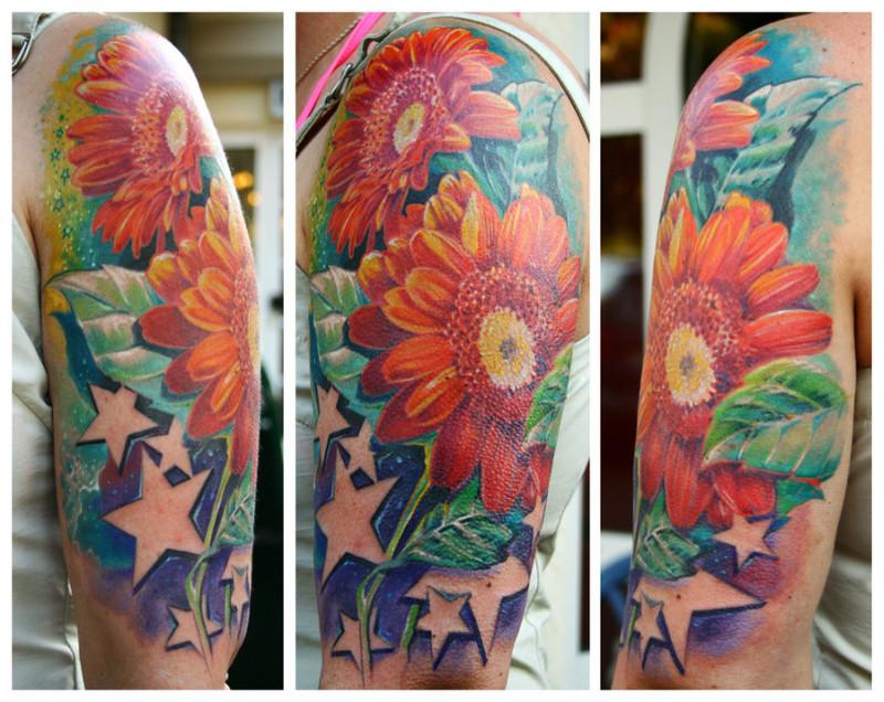 Half sleeve stars n daisy tattoo image