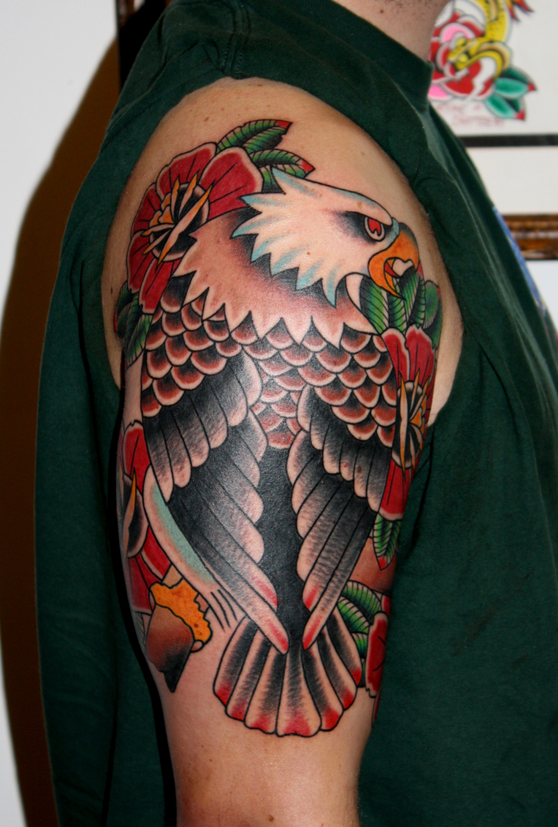 Half sleeve traditional eagle tattoo for guys