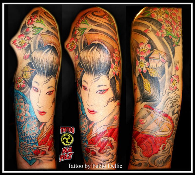 Half sleeve traditional geisha tattoo design