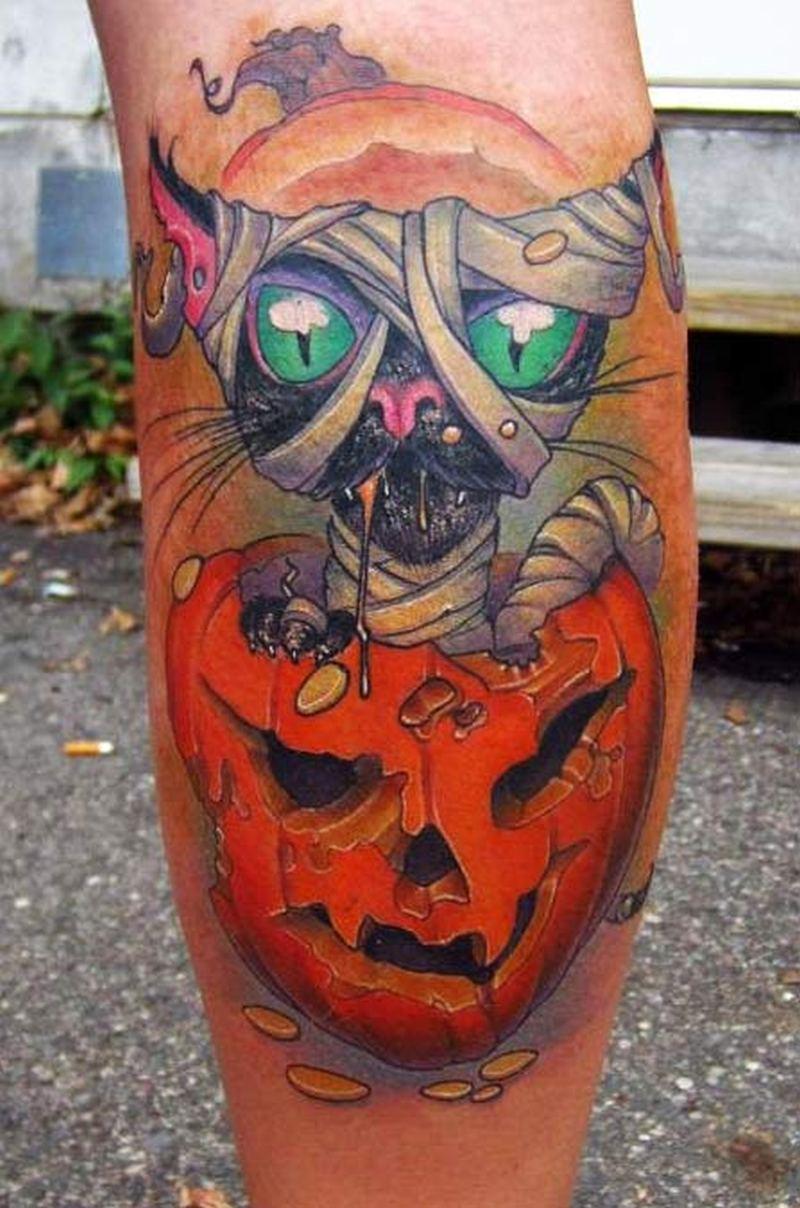 Halloween black cat tattoo design on leg