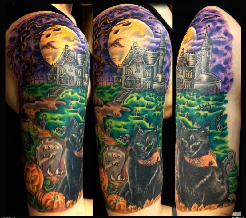 Halloween haunted house half sleeve tattoo design
