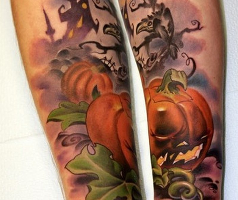 Halloween n pumpkin tattoo on legs