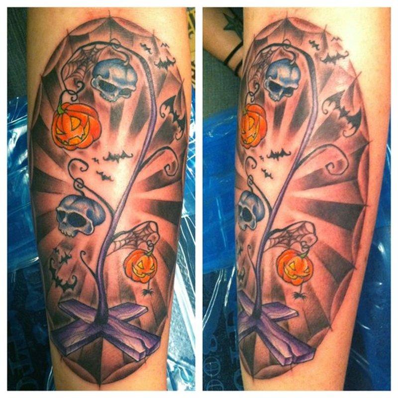 Halloween tree tattoo design