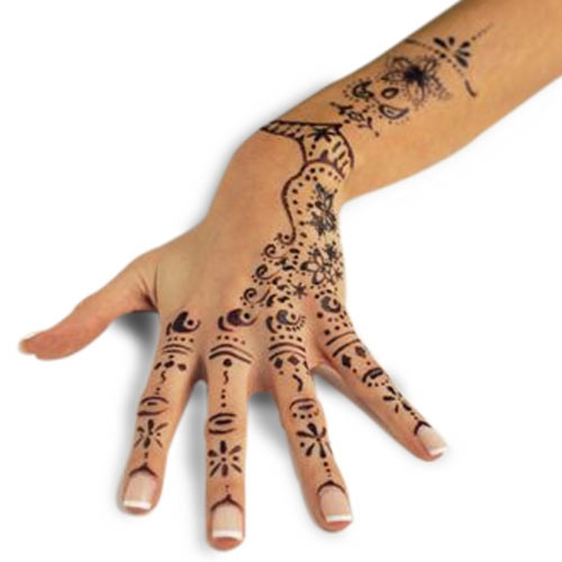 Hand with awesome henna tattoo design