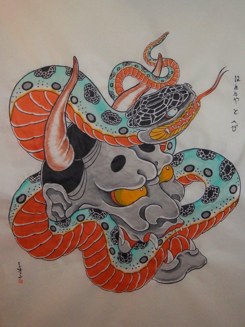 Hannya dragon japanese tattoo design