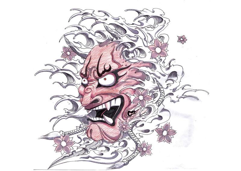 Hannya japanese mask tattoo design