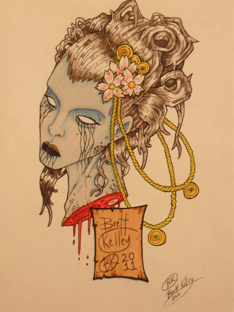 Hannya mask geisha tattoo design