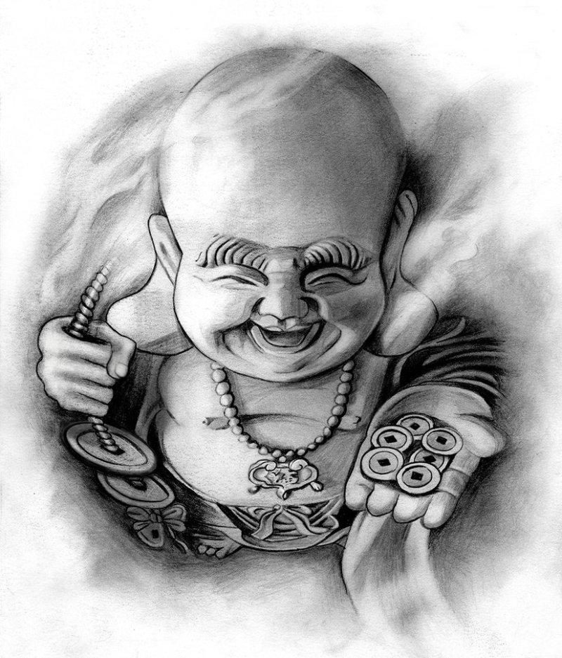 Happy buddha tattoo design