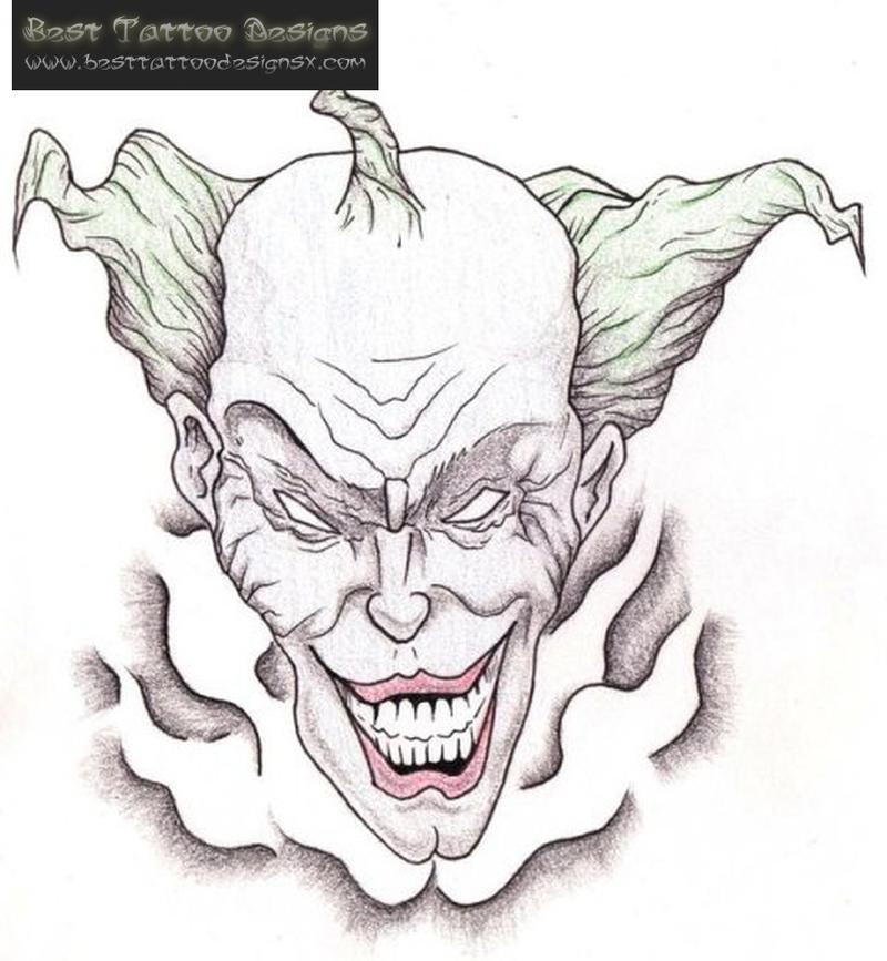 Happy clown tattoo drawing