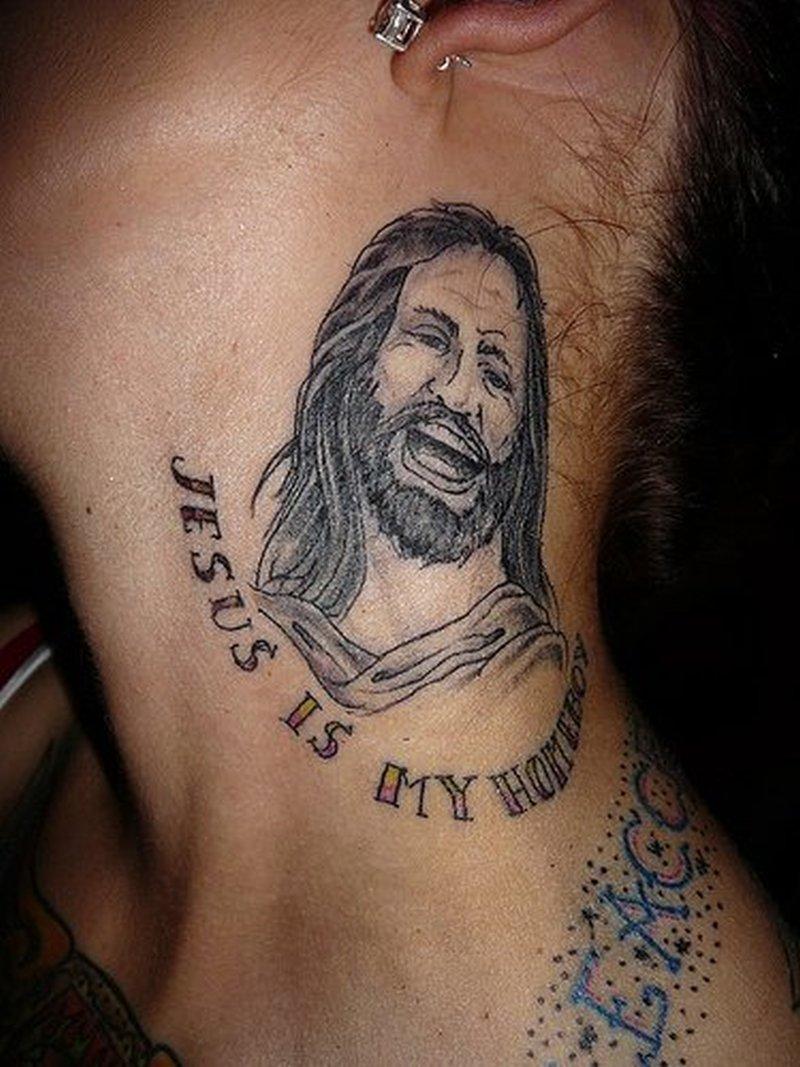 Happy jesus tattoo on neck