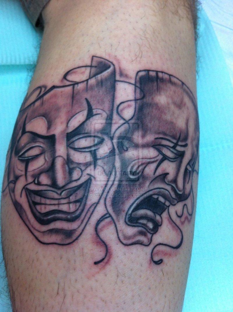cf4110aadd20f Happy sad clown masks tattoo design - Tattoos Book - 65.000 Tattoos ...