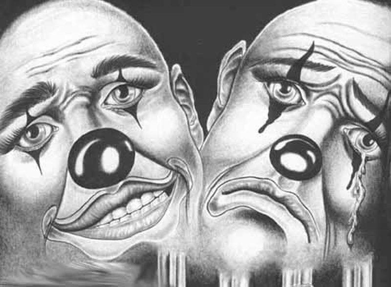 happy sad joker clowns design tattoo tattoos book. Black Bedroom Furniture Sets. Home Design Ideas