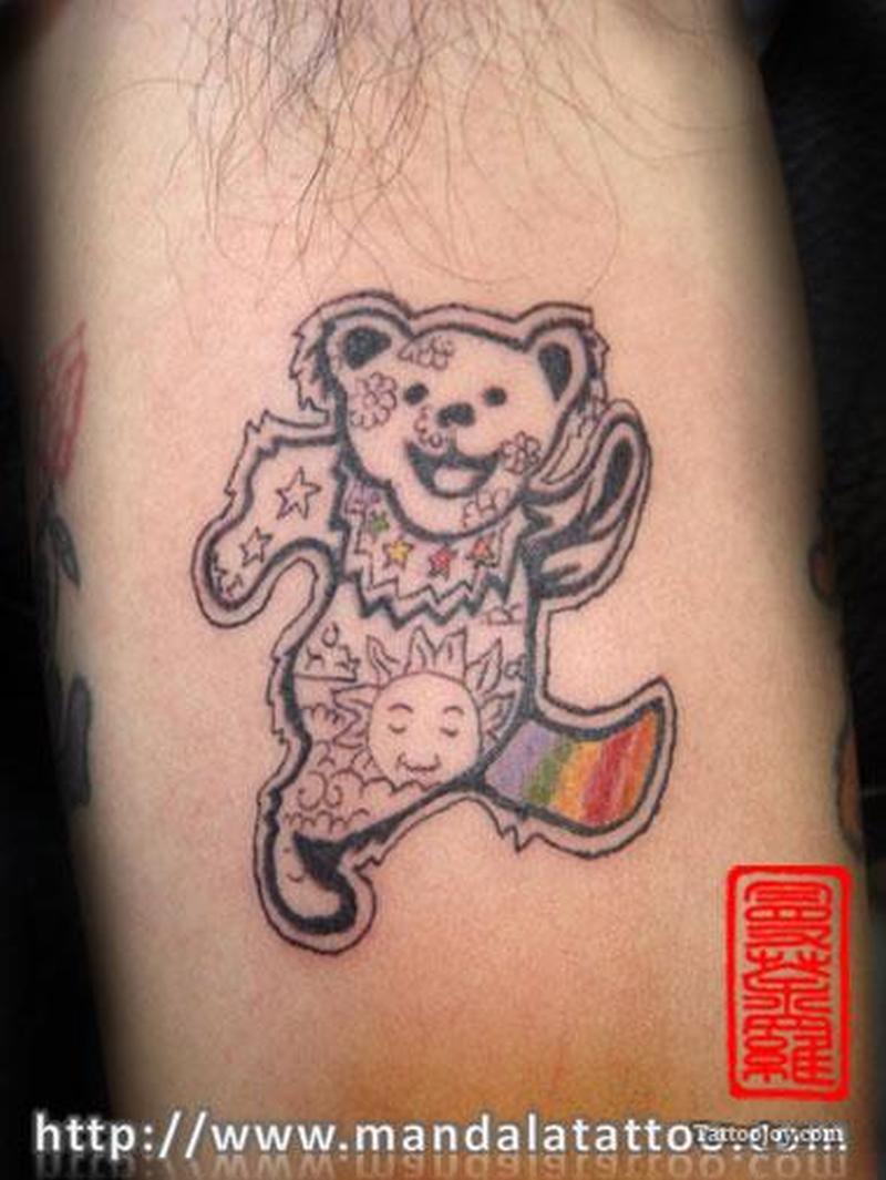 Happy teddy bear tattoo design