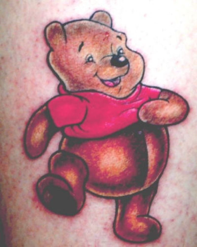 Happy teddy bear tattoo