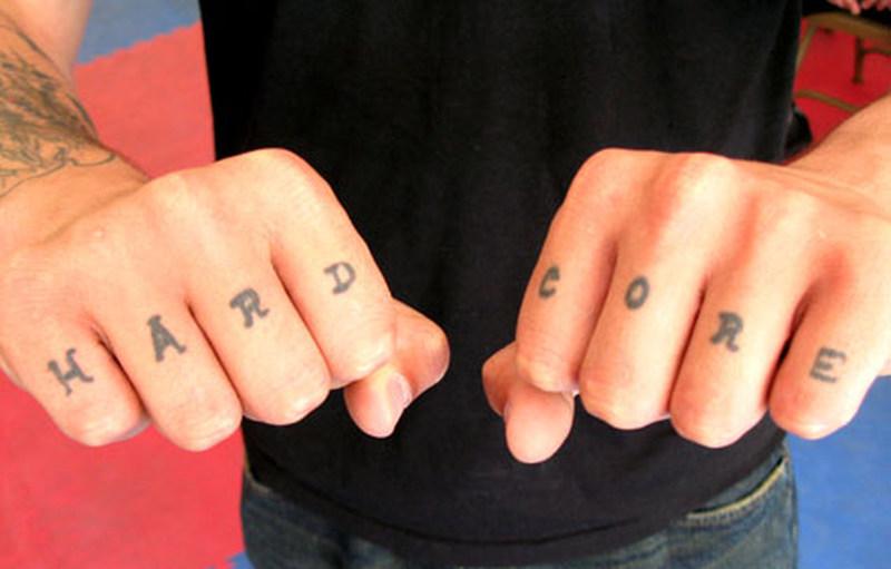 Hard core fingers tattoo design