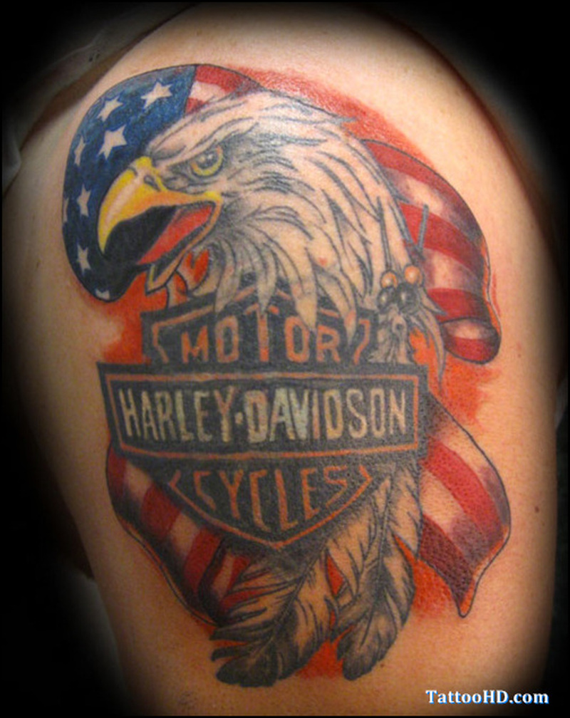 Harley davidson flag tattoo design
