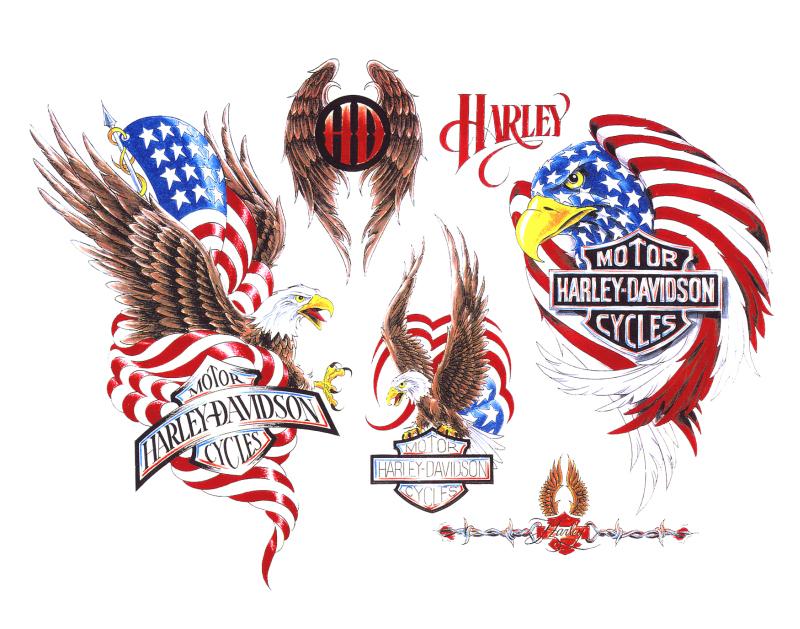 Harley davidson flag tattoo designs