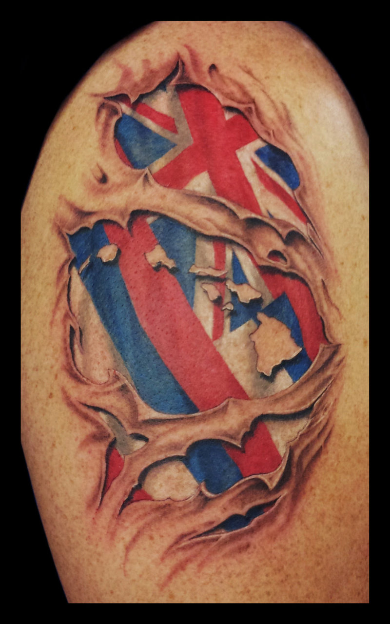 Hawaiian flag ripping through skin tattoo design