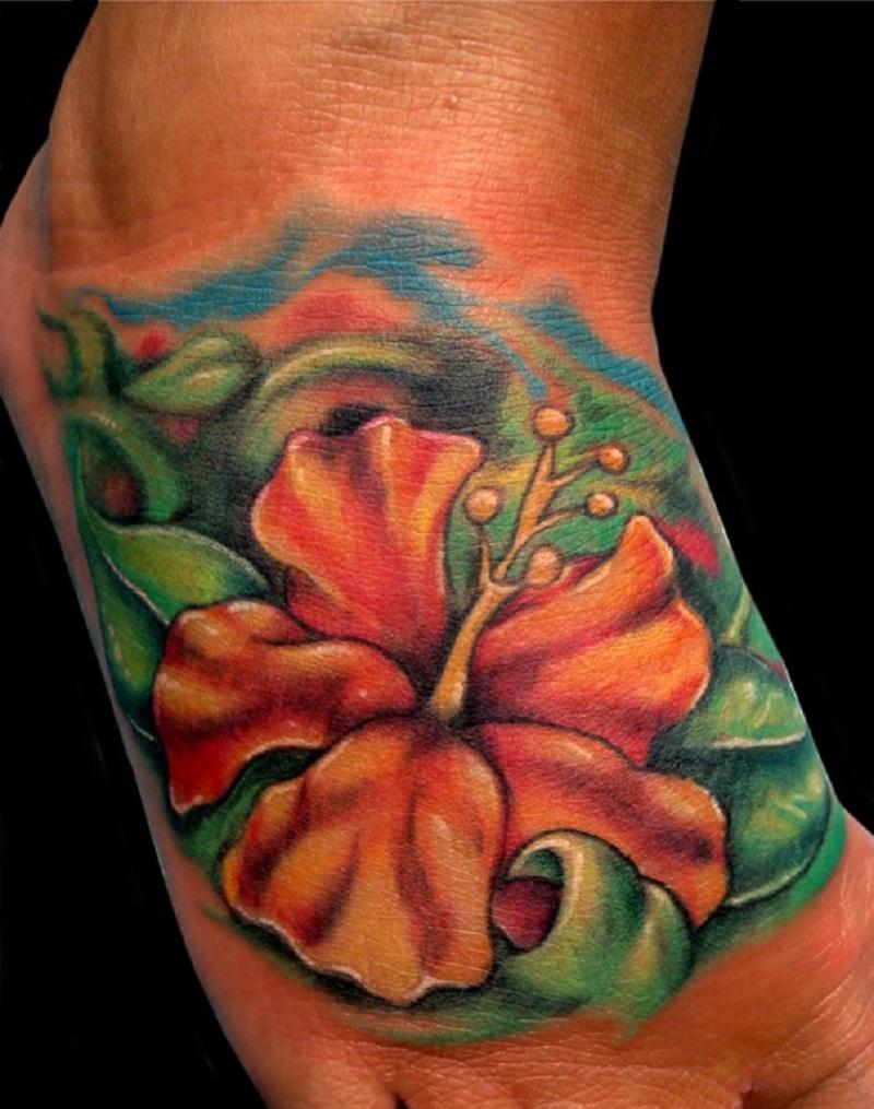 284233708 Hawaiian flower tattoo on foot 2 - Tattoos Book - 65.000 Tattoos Designs