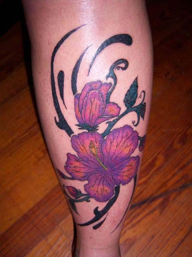 Hawaiian Flower Tattoo On Leg Tattoos Book