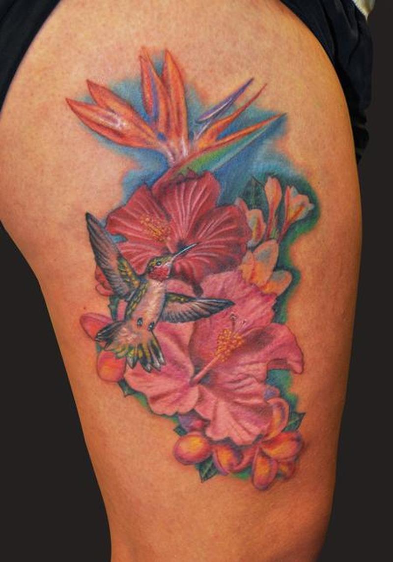 Hawaiian Flowers Tattoo On Biceps Tattoos Book 65000 Tattoos