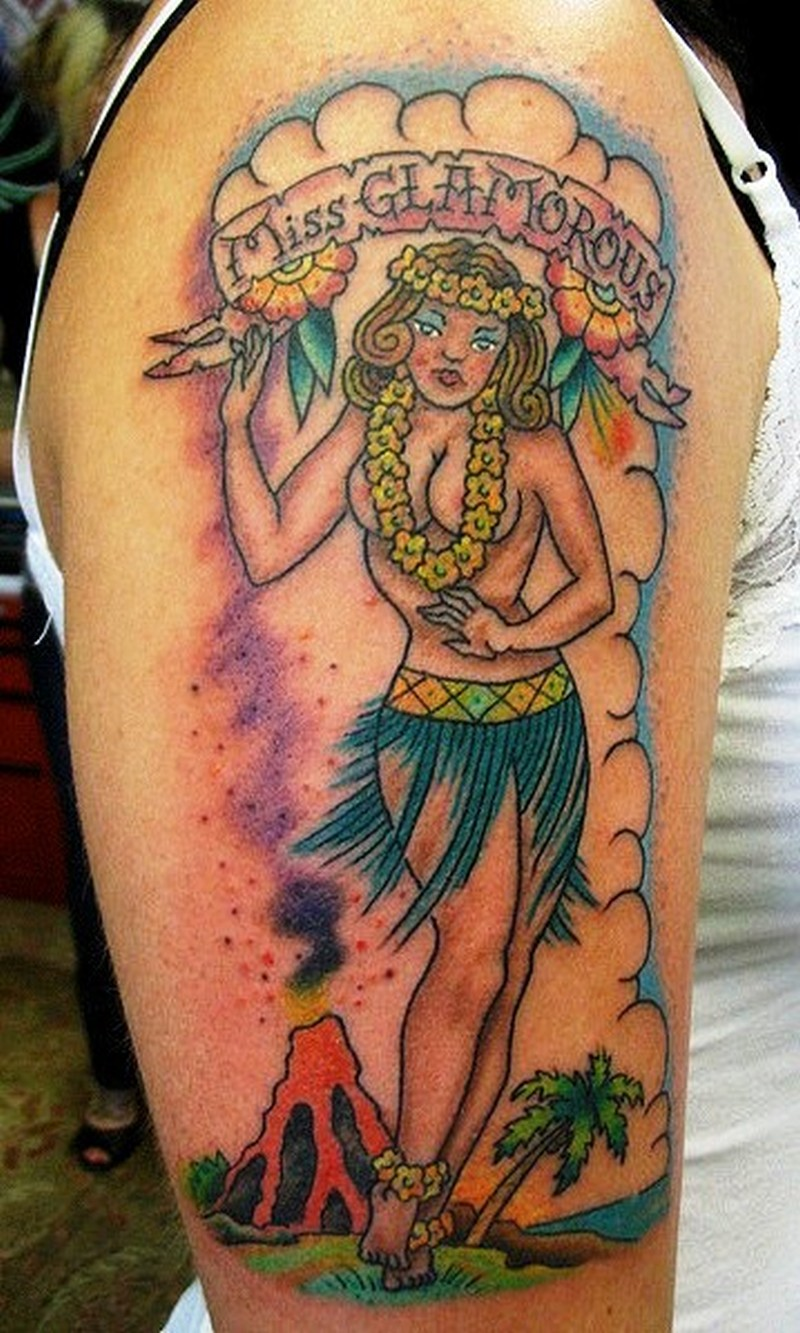 Hawaiian girl tattoo on right arm