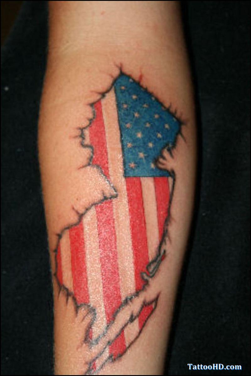 Hd american flag tattoo on forearm
