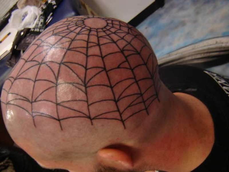 Head spider web tattoo design