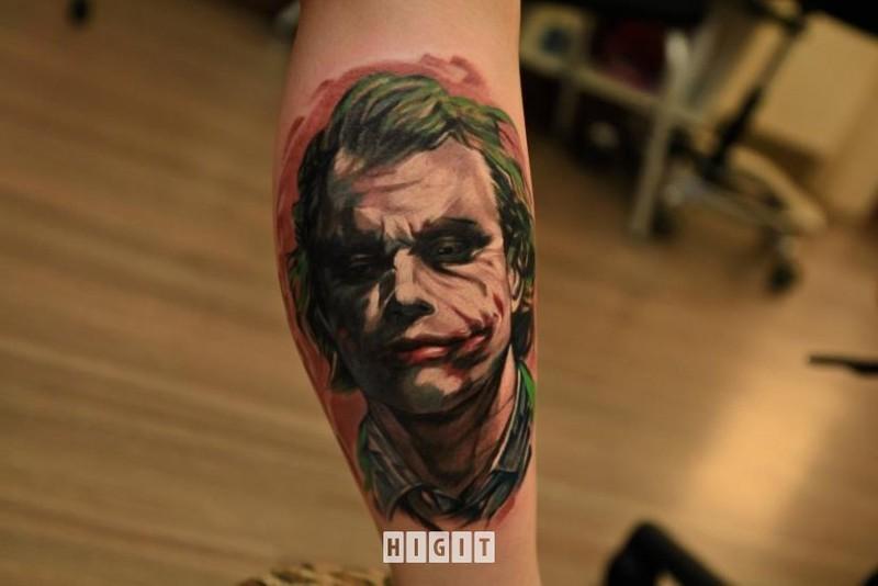 Health ledger joker tattoo on leg