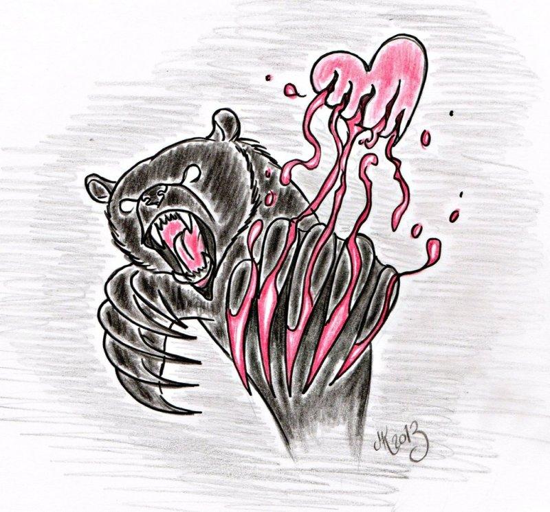 Heart broker bear tattoo design