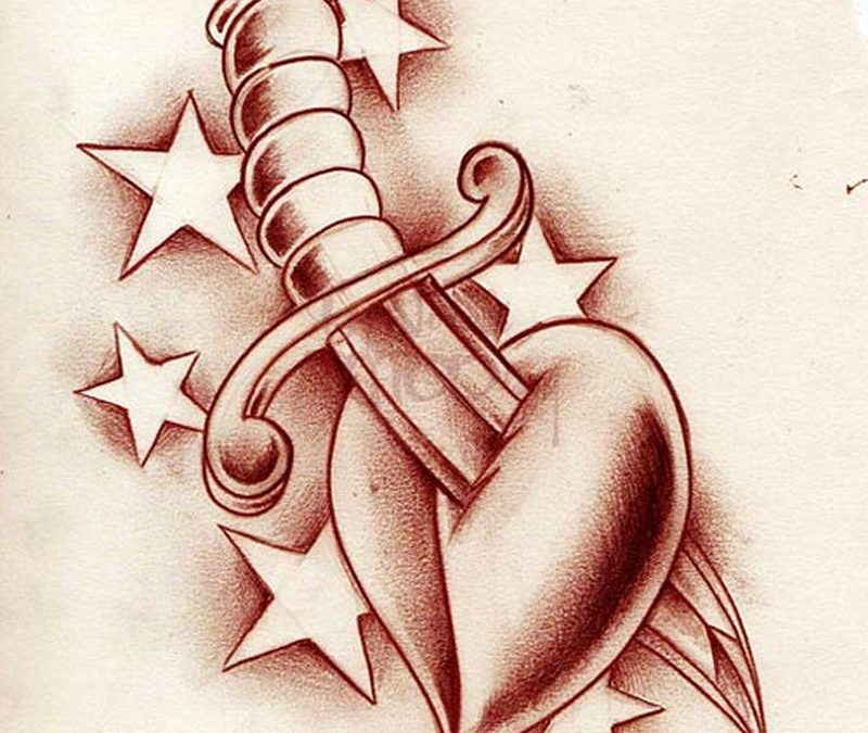 Heart dagger with stars design tattoo