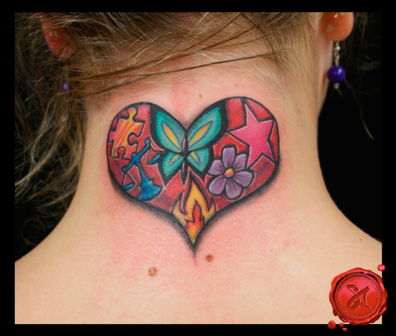 269263c8e Heart flower star butterfly tattoo on back of neck - Tattoos Book ...