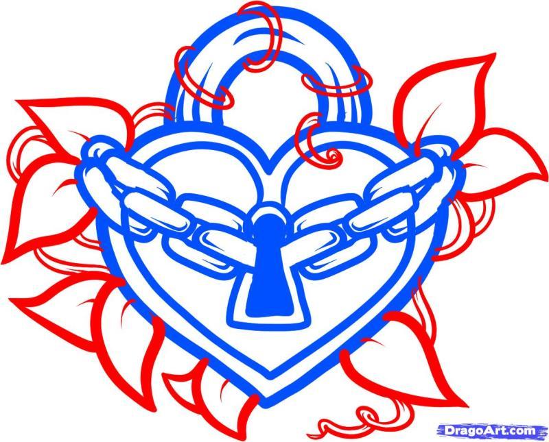 Heart lock tattoo art 2